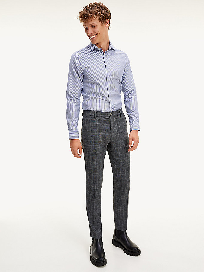 grey th flex slim fit check trousers for men tommy hilfiger
