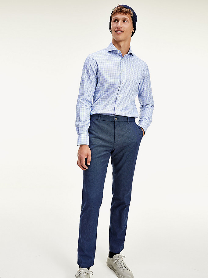 blue th flex slim fit trousers for men tommy hilfiger