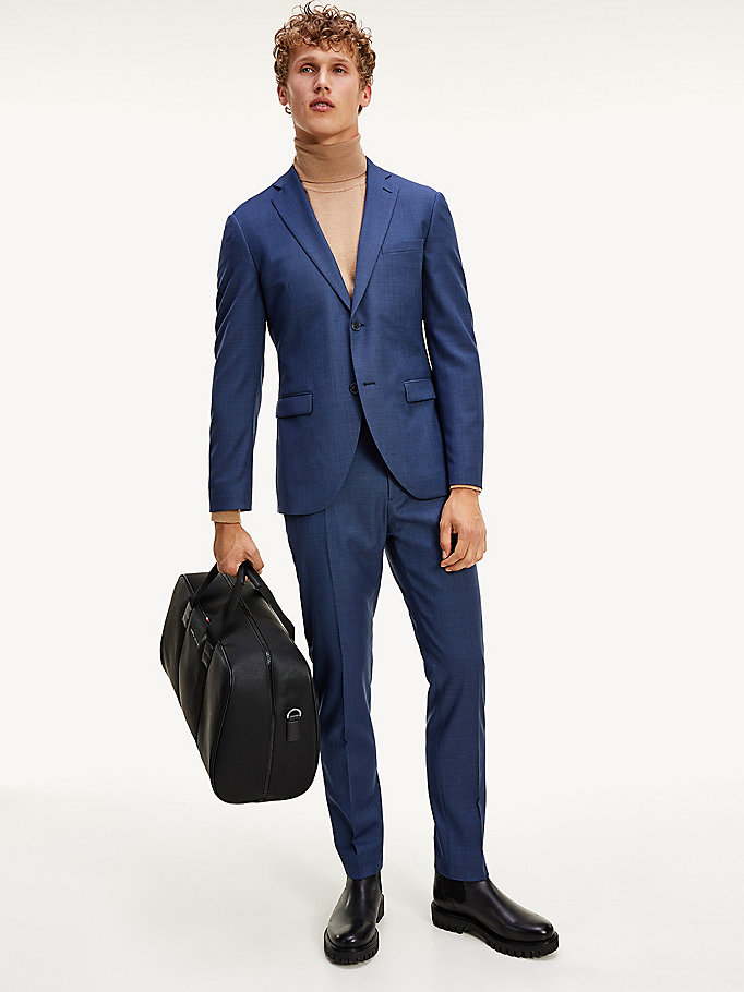 blue th flex solid slim fit suit for men tommy hilfiger