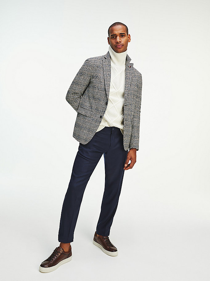 white check slim fit blazer for men tommy hilfiger