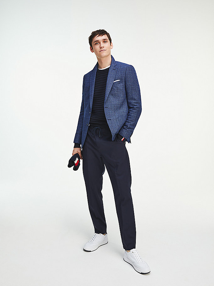 blue woven wool blend slim fit blazer for men tommy hilfiger