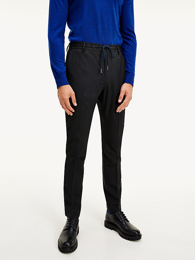 black th flex slim fit drawstring trousers for men tommy hilfiger
