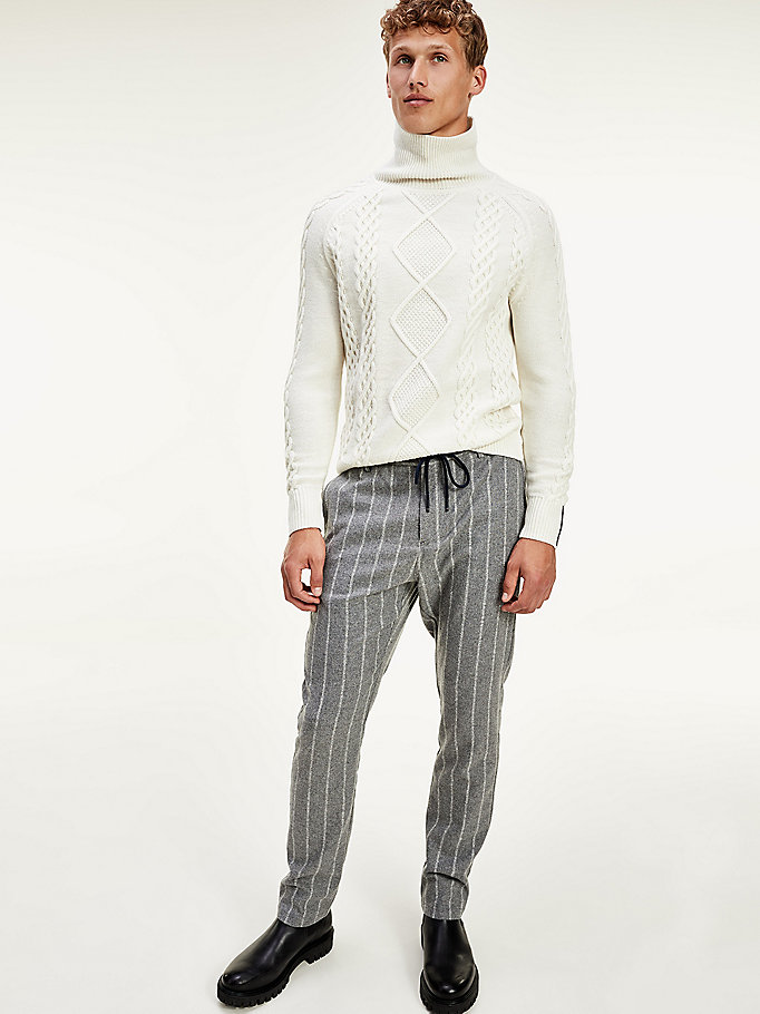 grey th flex vertical stripe drawstring trousers for men tommy hilfiger
