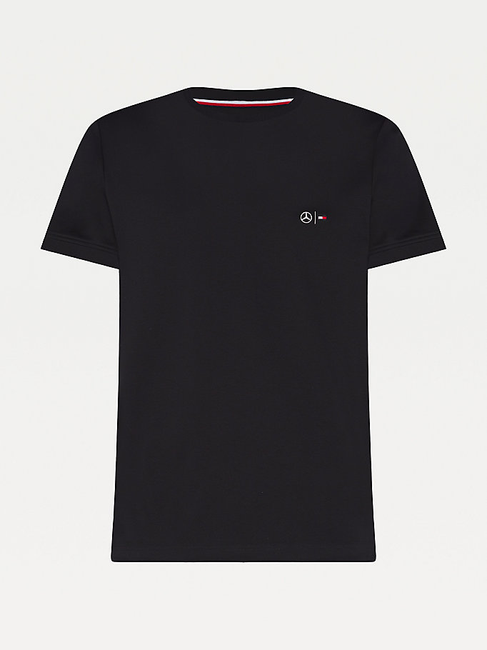 black mercedes-benz textured collar t-shirt for men tommy hilfiger
