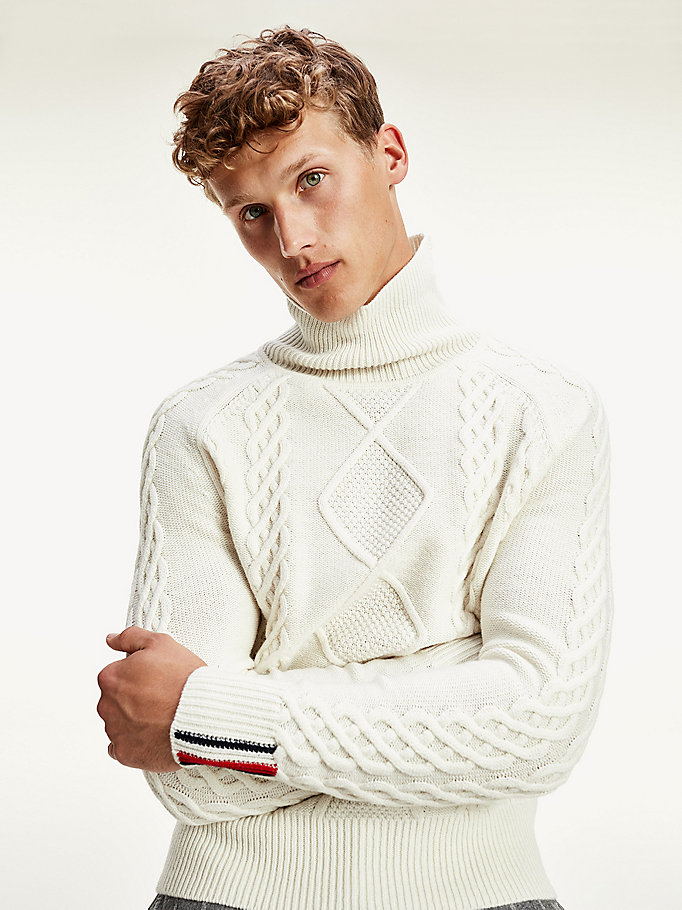 white tommy icons cable knit roll neck jumper for men tommy hilfiger