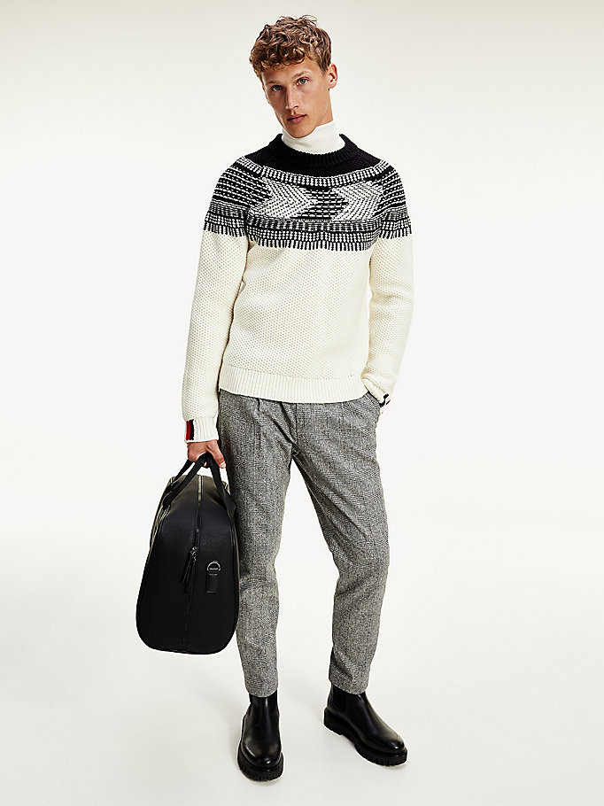 white monochrome yoke chunky knit jumper for men tommy hilfiger