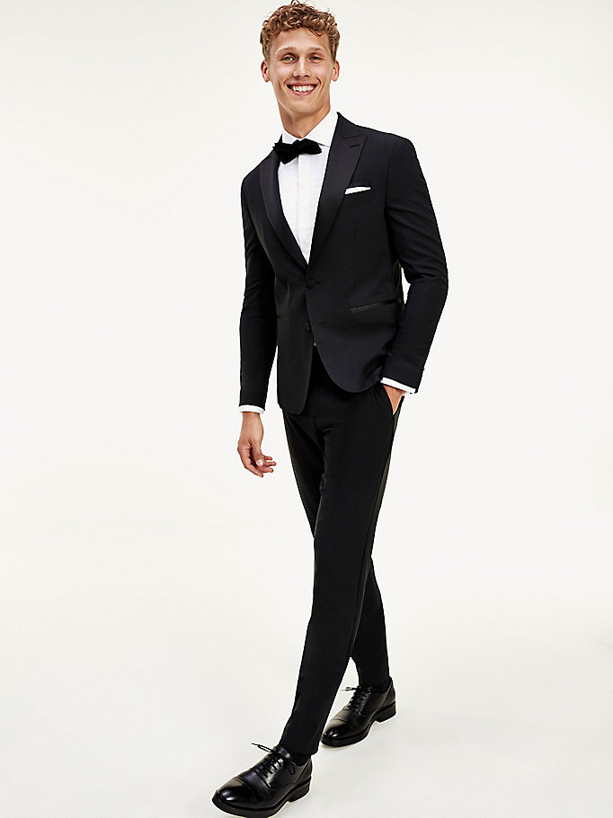 black th flex slim fit tuxedo suit for men tommy hilfiger