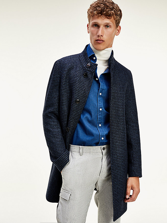 blue houndstooth stand up collar coat for men tommy hilfiger