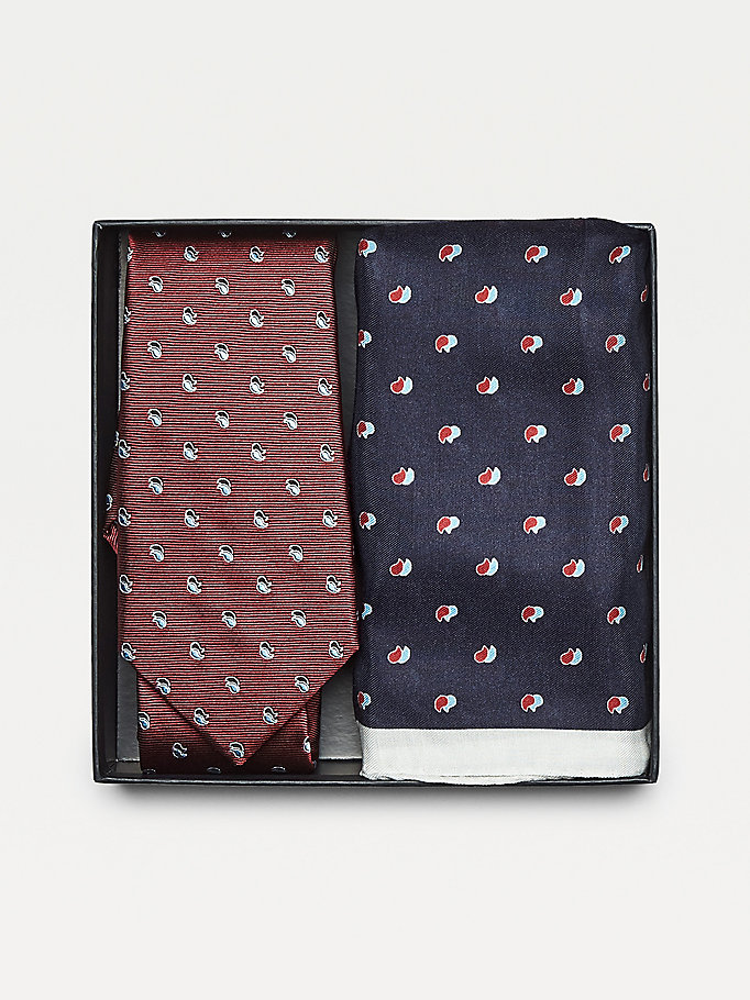 red paisley tie and pocket square set for men tommy hilfiger