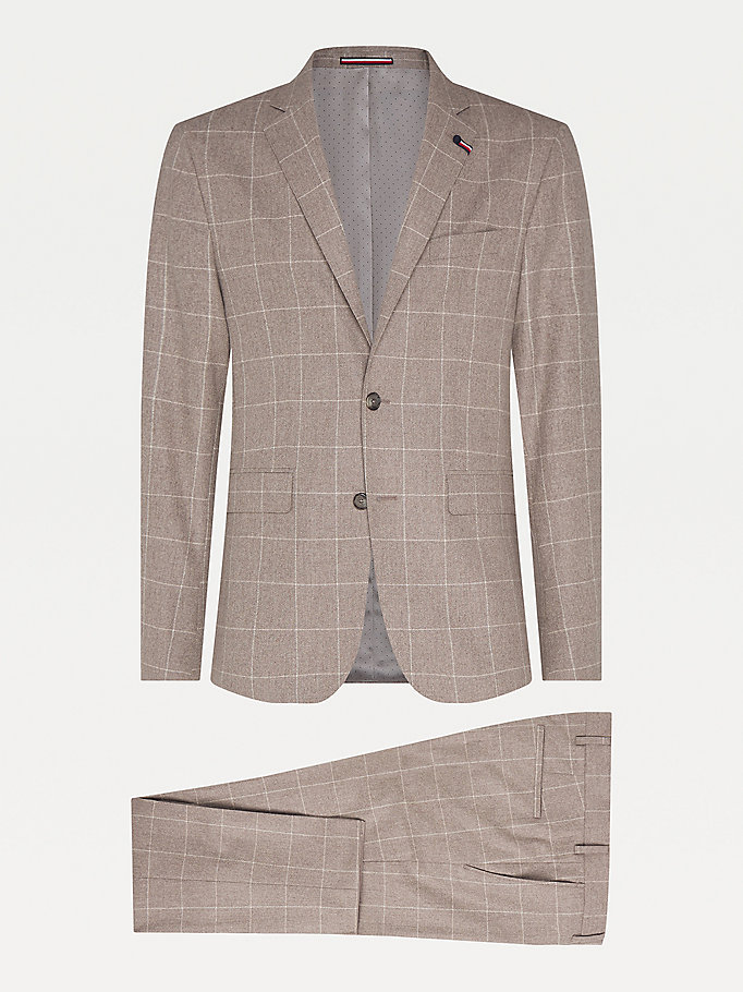 grey th flex check wool suit for men tommy hilfiger