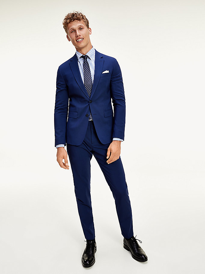 blue th flex virgin wool 3-piece suit for men tommy hilfiger