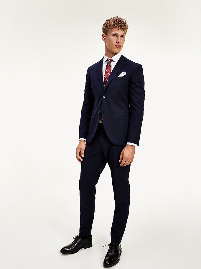 blue th flex wool blend slim suit for men tommy hilfiger