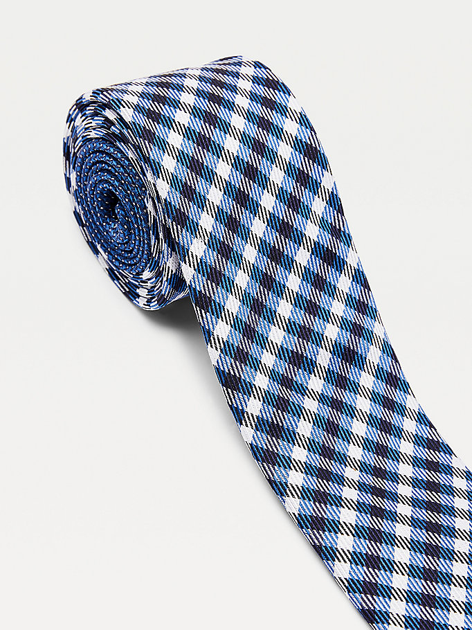 blue small tonal check silk tie for men tommy hilfiger