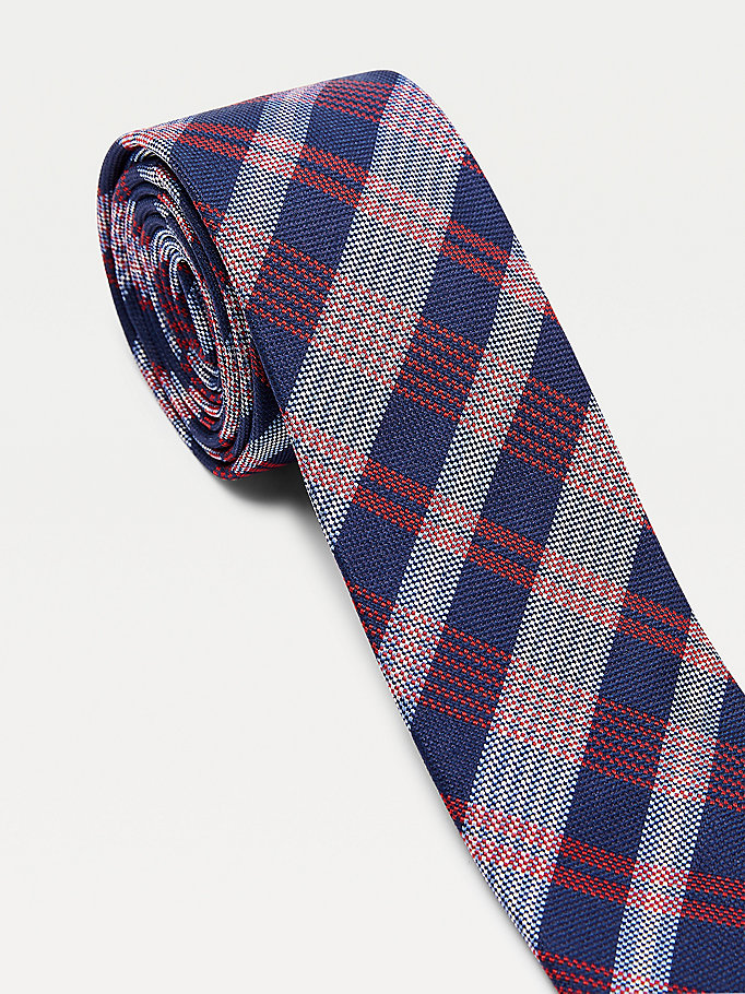 red large plaid check silk tie for men tommy hilfiger