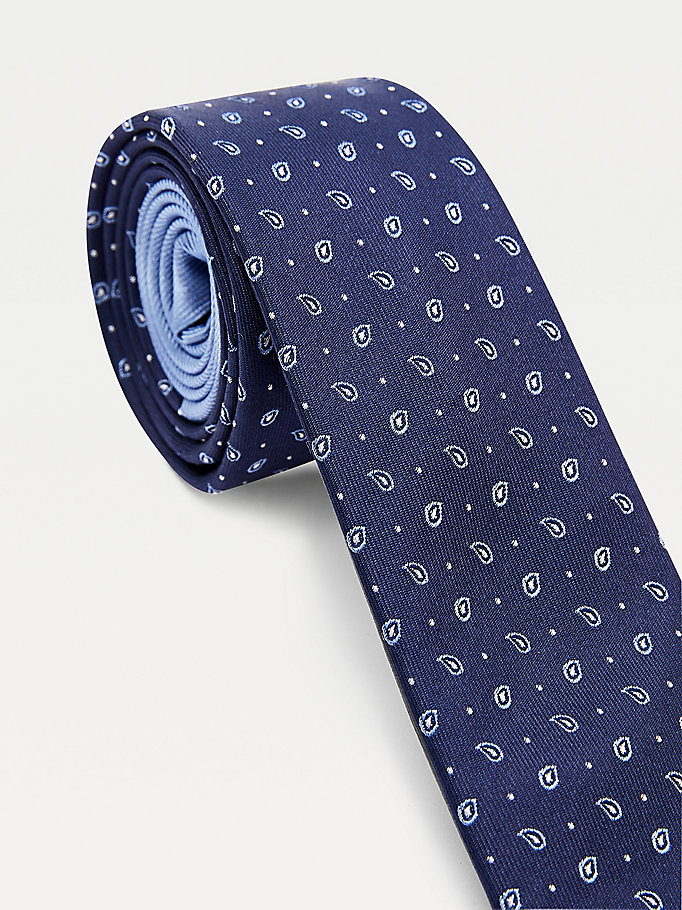blue small tonal paisley silk tie for men tommy hilfiger