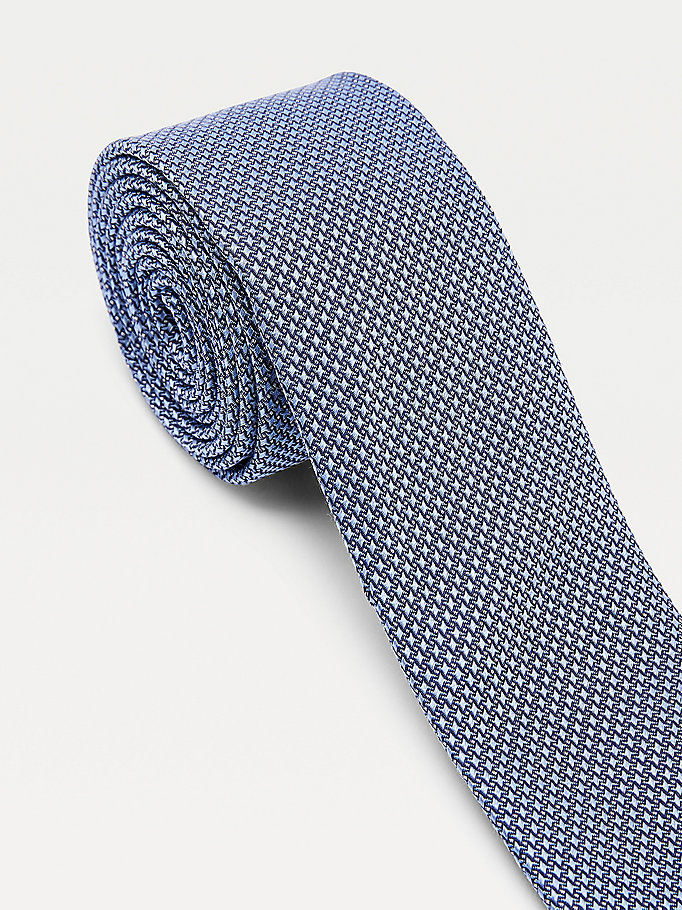 blue micro houndstooth silk tie for men tommy hilfiger