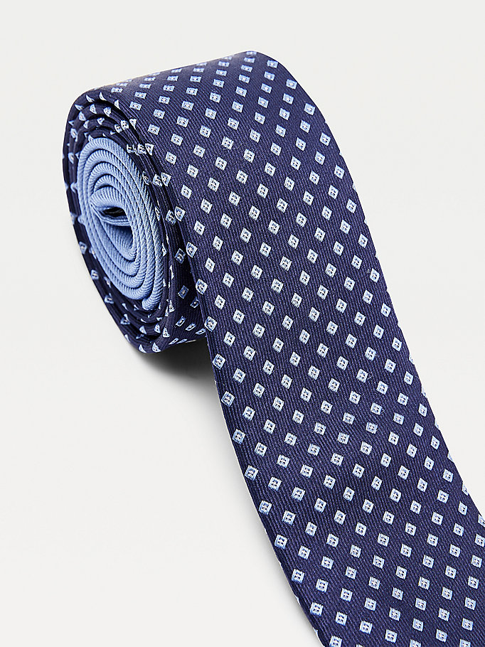 blue contrast micro cube silk tie for men tommy hilfiger