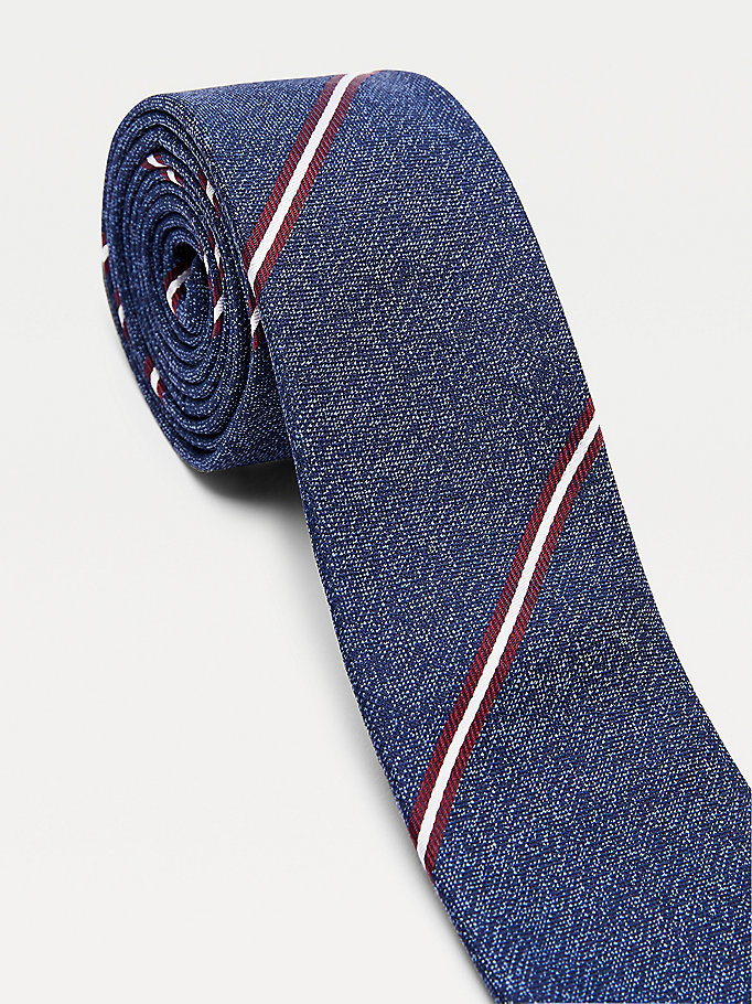 blue stripe silk tie for men tommy hilfiger