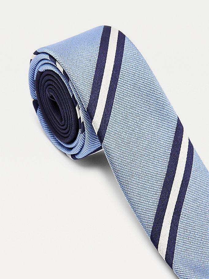 blue contrast stripe silk tie for men tommy hilfiger