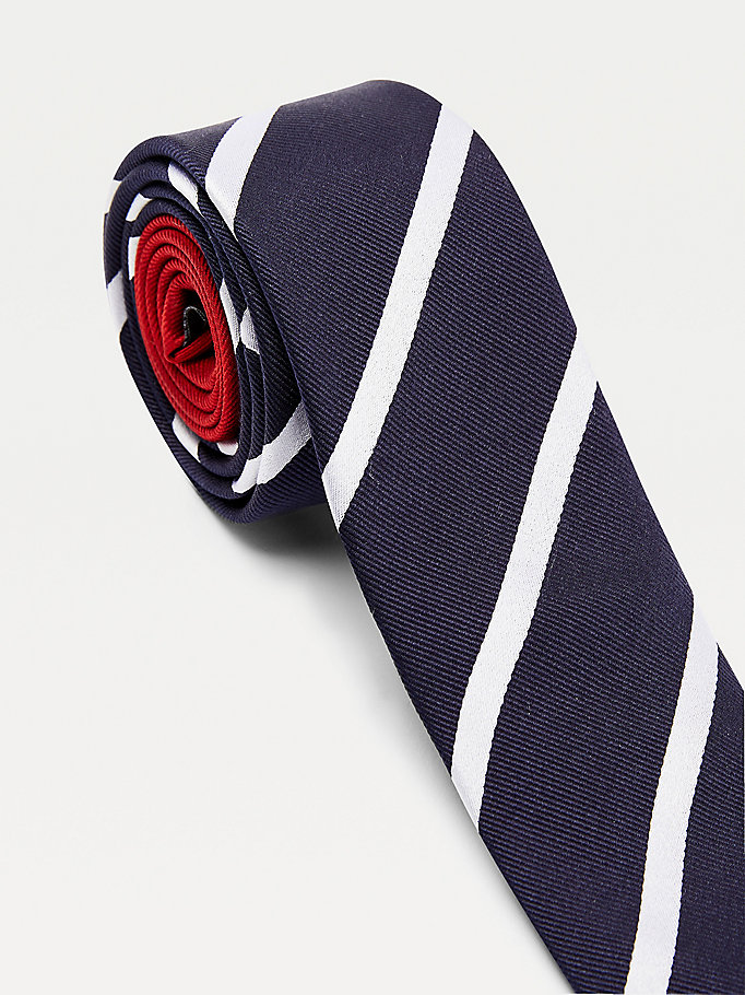 blue contrast silver stripe silk tie for men tommy hilfiger