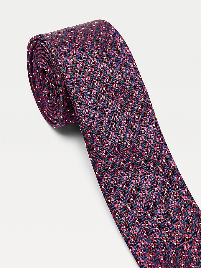 red silk blend floral tie for men tommy hilfiger