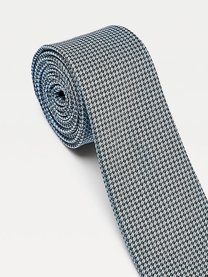 blue micro check tie for men tommy hilfiger