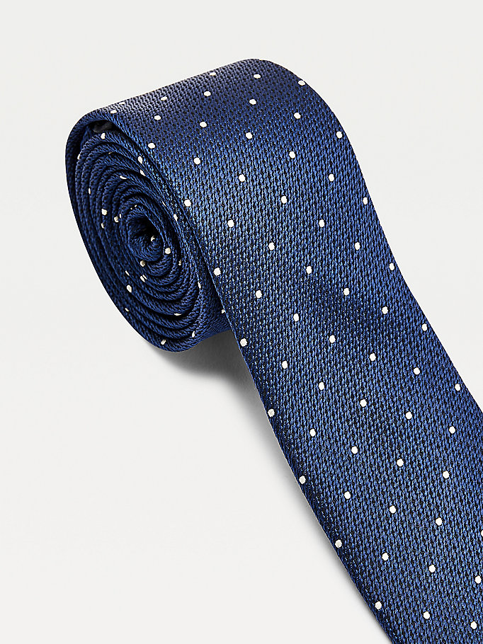 blue polka dot tie for men tommy hilfiger