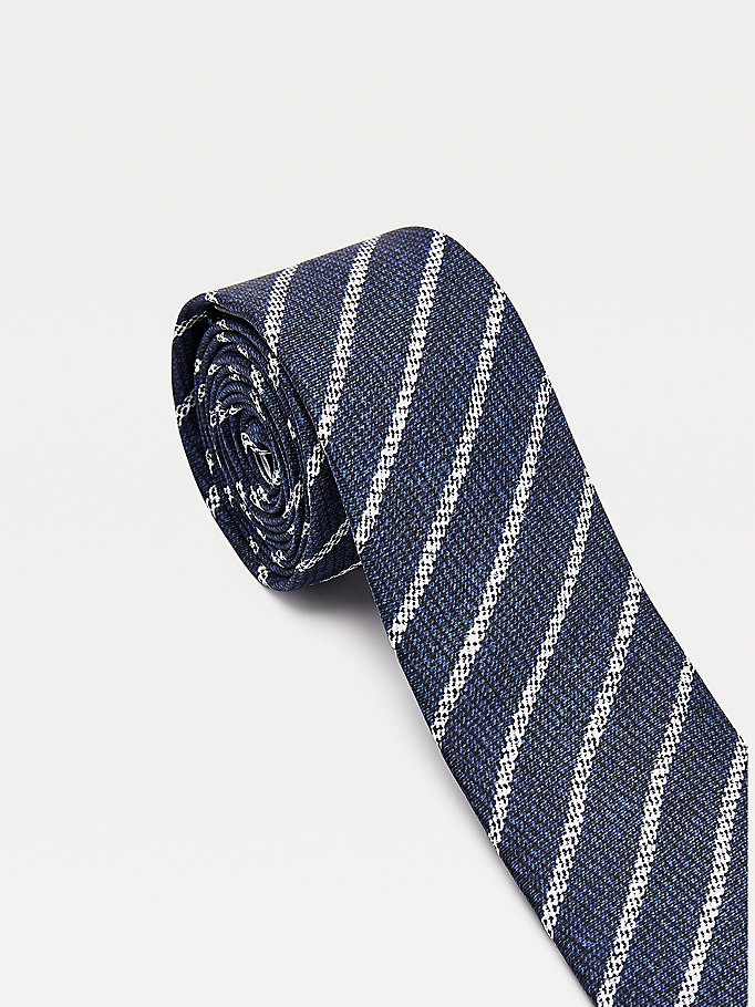 blue printed stripe pure silk tie for men tommy hilfiger