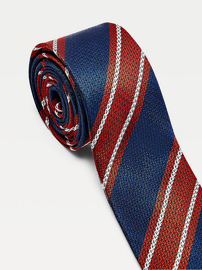 red large contrast stripe tie for men tommy hilfiger