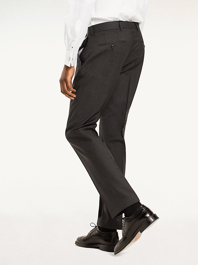 TOMMY HILFIGER Rhames Wool Fitted Trousers - 427 - TOMMY HILFIGER Clothing - detail image 1