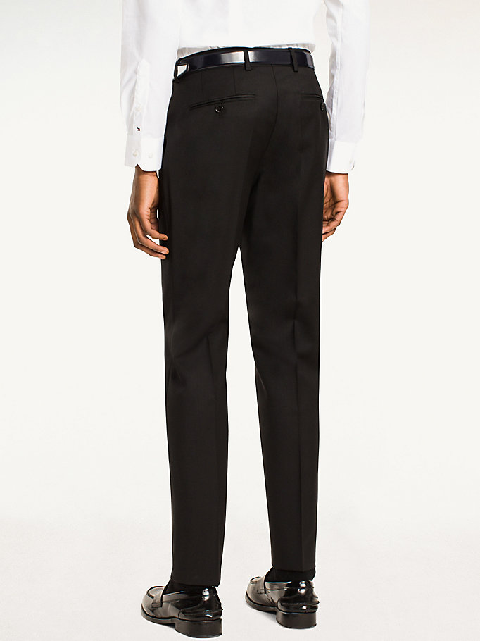 TOMMY HILFIGER Rhames Wool Fitted Trousers - 019 - TOMMY HILFIGER Clothing - detail image 1