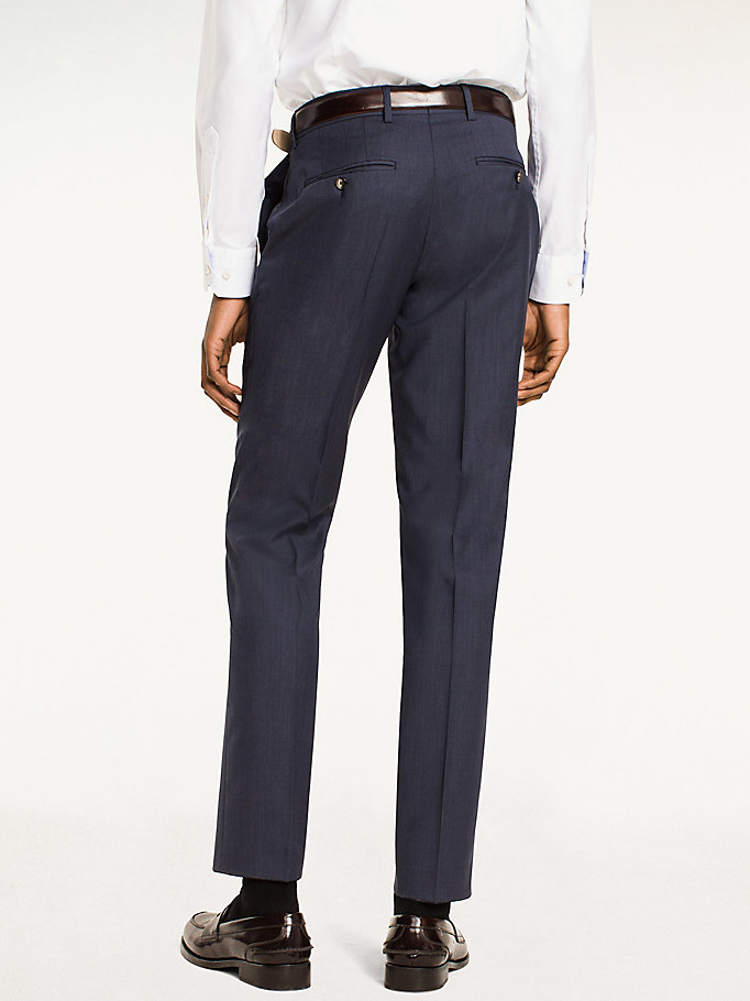 TOMMY HILFIGER Rhames Wool Fitted Trousers - 099 - TOMMY HILFIGER Clothing - detail image 1