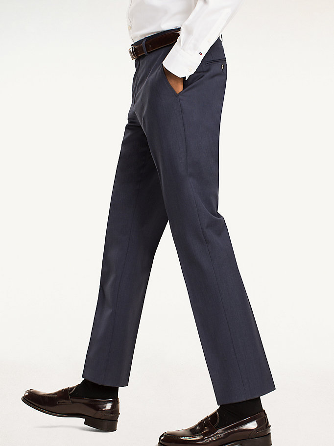 TOMMY HILFIGER Rhames Wool Fitted Trousers - 099 - TOMMY HILFIGER Clothing - detail image 2