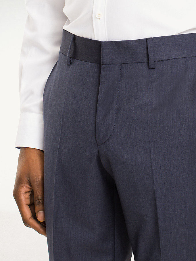 TOMMY HILFIGER Rhames Wool Fitted Trousers - 099 - TOMMY HILFIGER Clothing - detail image 3