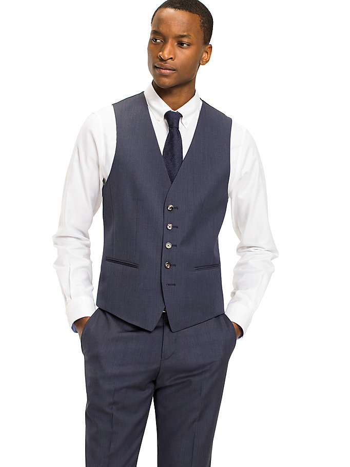TOMMY HILFIGER Webster Wool Fitted Waistcoat - 099 - TOMMY HILFIGER Clothing - main image