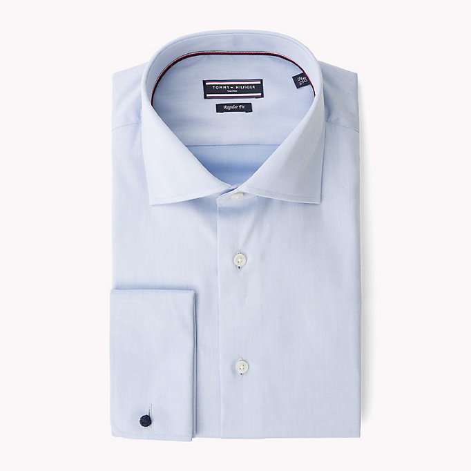blue fitted double cuff shirt for men tommy hilfiger