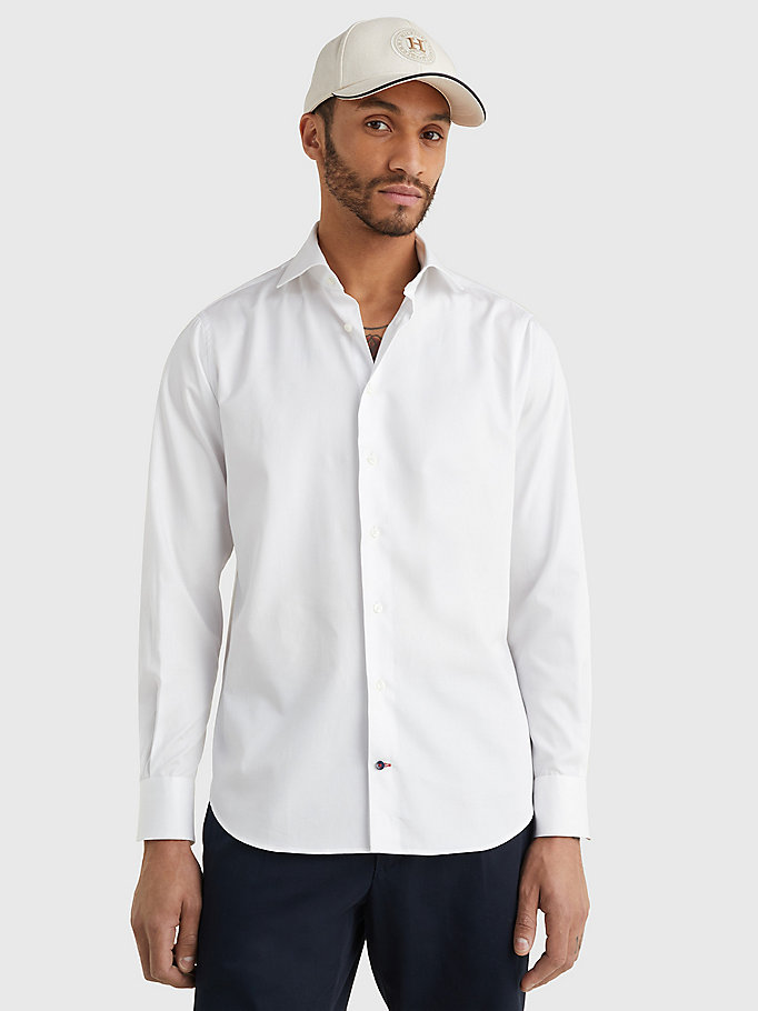 white pure cotton fitted shirt for men tommy hilfiger
