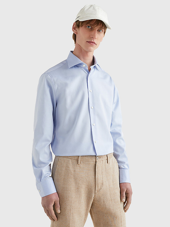 blue pure cotton fitted shirt for men tommy hilfiger
