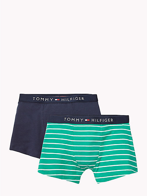TOMMY HILFIGER 2-Pack Cotton Trunks - GREEN LAKE/NAVY BLAZER - TOMMY HILFIGER Underwear & Sleepwear - main image