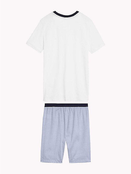 TOMMY HILFIGER Cotton Pyjama Set - WHITE/ CHAMBRAY BLUE - TOMMY HILFIGER Underwear & Sleepwear - detail image 1