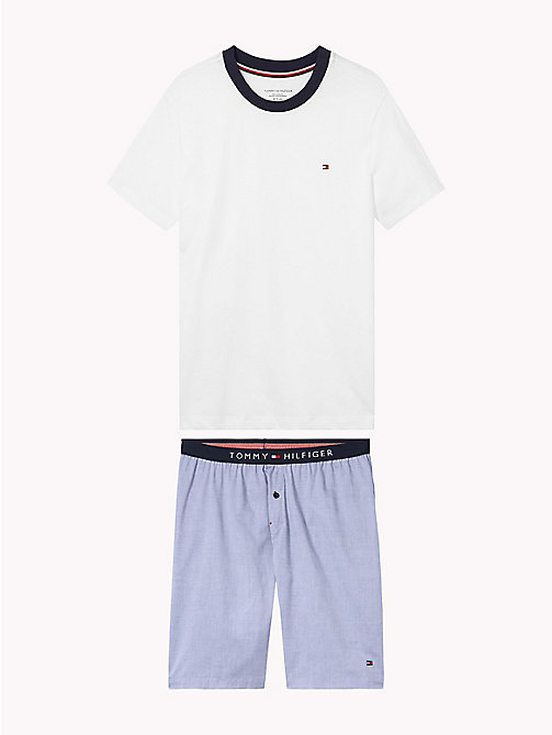 TOMMY HILFIGER Cotton Pyjama Set - WHITE/ CHAMBRAY BLUE - TOMMY HILFIGER Underwear & Sleepwear - main image