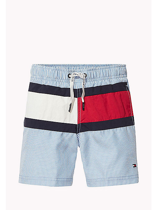 TOMMY HILFIGER Seersucker Swim Shorts - SEERSUCKER PRINT SILVER LAKE BLUE - TOMMY HILFIGER Swimwear - main image