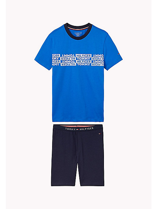 TOMMY HILFIGER Cotton Jersey Pyjama Set - PRINCESS BLUE/NAVY BLAZER - TOMMY HILFIGER Underwear & Sleepwear - main image