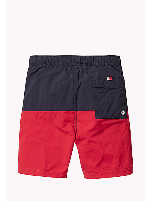 TOMMY HILFIGER Colour-Blocked Drawstring Swim Shorts - NAVY BLAZER - TANGO RED - TOMMY HILFIGER Swim styles - detail image 1