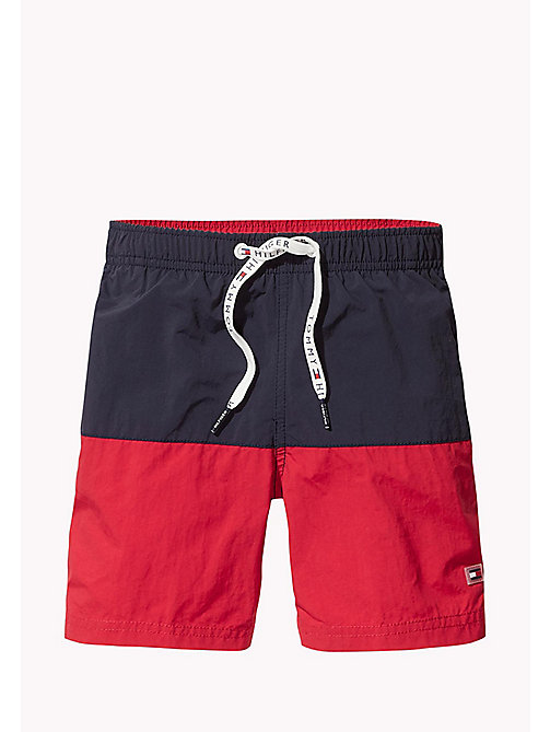 TOMMY HILFIGER Colour-Blocked Drawstring Swim Shorts - NAVY BLAZER - TANGO RED - TOMMY HILFIGER Swim styles - main image