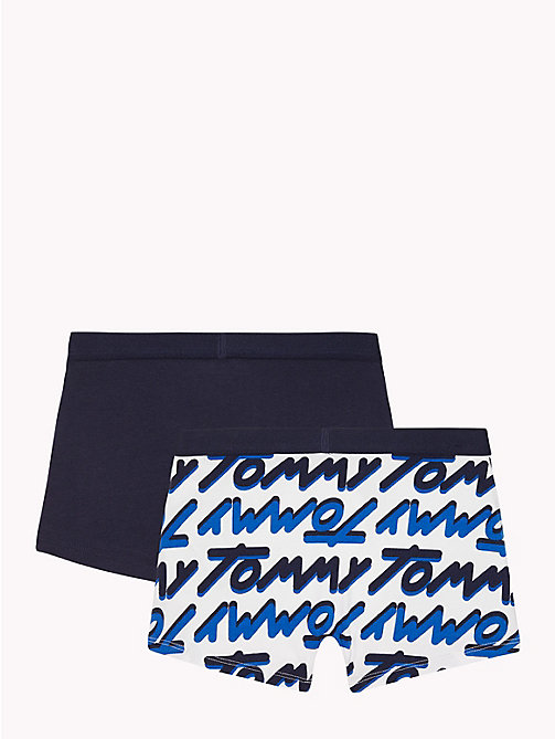TOMMY HILFIGER 2-Pack Logo Trunks - WHITE/NAVY BLAZER - TOMMY HILFIGER Underwear & Socks - detail image 1
