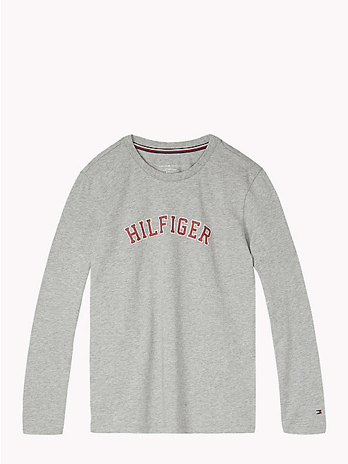 TOMMY HILFIGER Collegiate Logo Lounge Top - GREY HEATHER - TOMMY HILFIGER Boys - main image