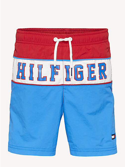 7d601b1ab6 red colour-blocked drawstring swim shorts for boys tommy hilfiger