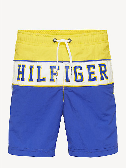05e6726434 yellow colour-blocked drawstring swim shorts for boys tommy hilfiger