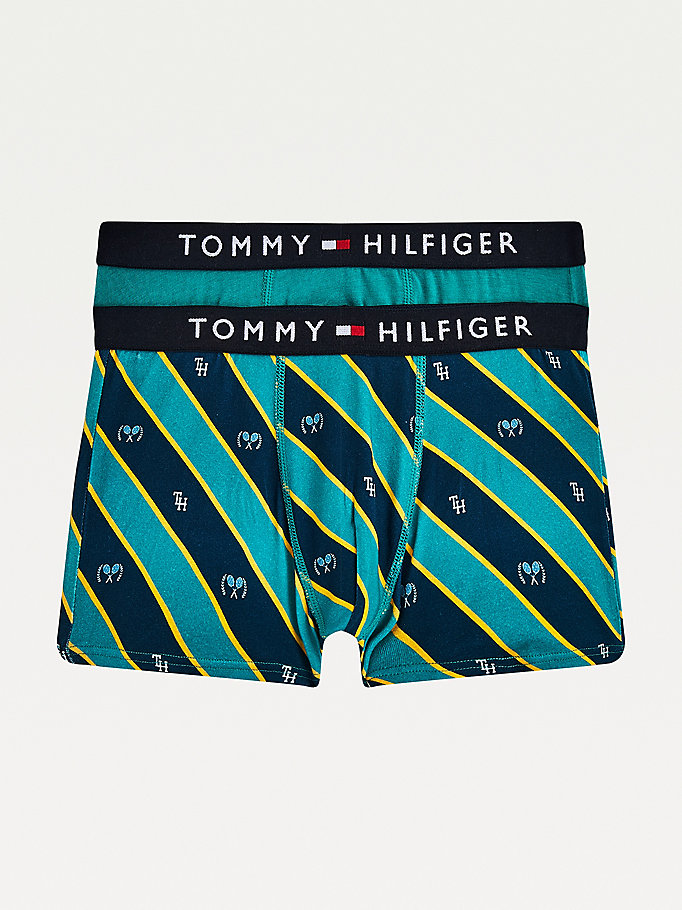 green 2-pack logo waistband organic cotton trunks for boys tommy hilfiger